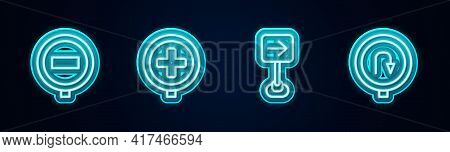 Set Line Stop Sign, Hospital Road Traffic, Traffic Turn Right And Turn Back. Glowing Neon Icon. Vect