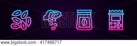 Set Line Seed, , Bag Of Coffee Beans And Pack Full Seeds Plant. Glowing Neon Icon. Vector
