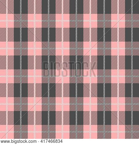 Pink And Grey Scotland Textile Seamless Pattern. Fabric Texture Check Tartan Plaid. Abstract Geometr