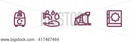 Set Line Donate Or Pay Your Zakat, Oil Pump Pump Jack, Wudhu And Holy Book Of Koran Icon. Vector