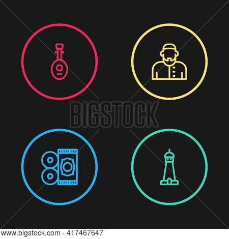 Set Line Traditional Carpet, Mosque Tower Or Minaret, Muslim Man And Lute Icon. Vector