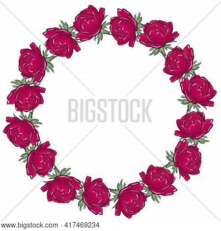 Circular Frame With Peonies. Bright Burgundy Peonies In A Circle. Template For Postcards And Invitat