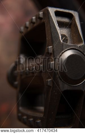 Bicycle Details, Pedals Details, Dark Abstract Background, Selective Focus.