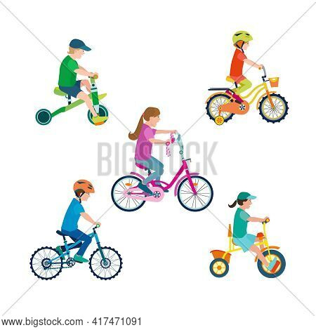 Set Of Flat Happy Kids On Bicycles. Child Riding Colorful Bike On White Background. Girl And Boy Kid