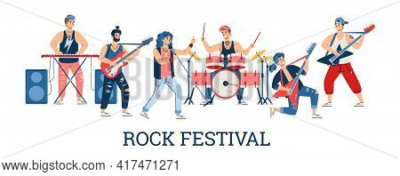 Rock Music Festival Poster With Musicians Of Rock Band Flat Vector Illustration.