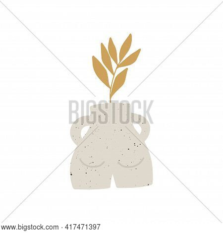 Trendy Ceramic Vase With Plant, Leaf Vector Illustration. Contemporary Art. Modern Poster, Botanical