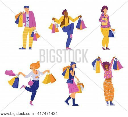 Happy Shoppers With Lot Bags And Packages A Flat Vector Isolated Illustrations
