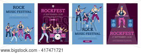 Rock Music Festival Or Rock Fest Posters Set Flat Vector Illustration.
