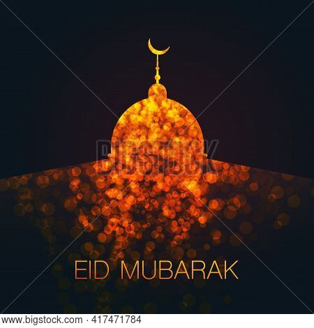 Ramadan Kareem Or Eid Mubarak - Dark Greeting Card Design For Muslim Community Festival With Artisti