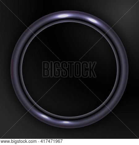 Dark Shiny Metal Ring On Black Background. Abstract Round Metal Frame For Text. Vector Illustration.
