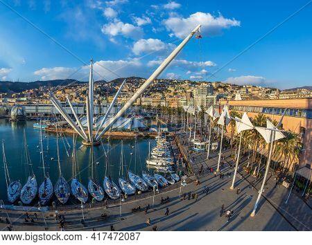 Genoa, Italy - March 20, 2021: Aerial View Of Port Of Genoa With Porto Antico, The Aquarium, The Sph