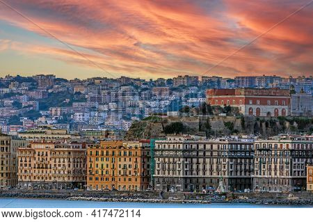 Naples, Italy - March 23, 2021: Port Of Naples With Colorful Houses On Italian Coastline.