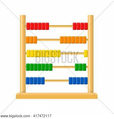 Abacus With Rainbow Colored Beads Isolated On White Background. Calculating Mathematical Frame For E
