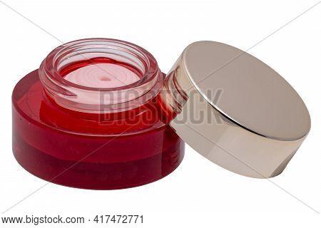 Closeup Of An Open Cosmetic Jar Of Rose Concealer Cream, Makeup Foundation, Moisturising Cream For T