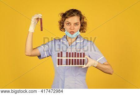 Medical Professional Developing Vaccine. Coronavirus Treatment. Doctor Respirator Mask. Infection Va