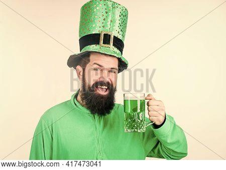 Colored Beverage Patricks Holiday. Green Color Part Of Celebration. Irish Beer Pub. Global Celebrati