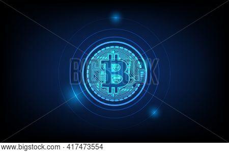 Bitcoin Digital Currency, Futuristic Digital Money, Futuristic Digital Innovation Background Vector