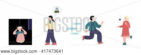 Frightened People With Phobia Disorders, Cartoon Vector Illustration Isolated.