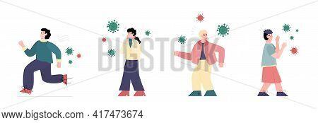 People Running In Panic Afraid Of Viruses, Flat Vector Illustration Isolated.
