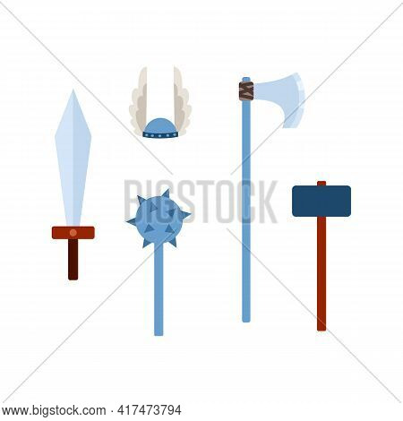 Set Viking Scandinavian Weapons And Armours, Flat Vector Illustrations Isolated.