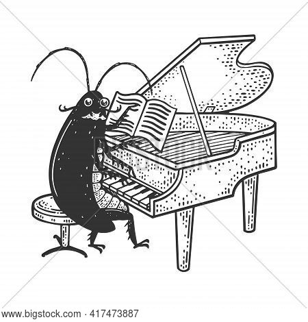 Cartoon Cockroach Orchestra Playing Grand Piano Sketch Engraving Vector Illustration. T-shirt Appare