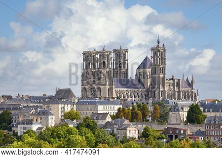 Aerial View Of Laon Cathedral, A Roman Catholic Church Located In Laon, Aisne, Hauts-de-france, Fran