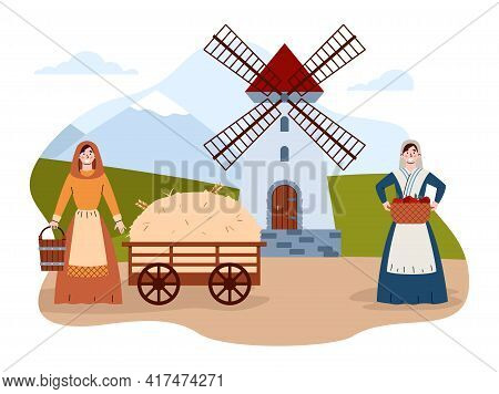 Scene Of Medieval Village Life With Peasant Women, Flat Vector Illustration.