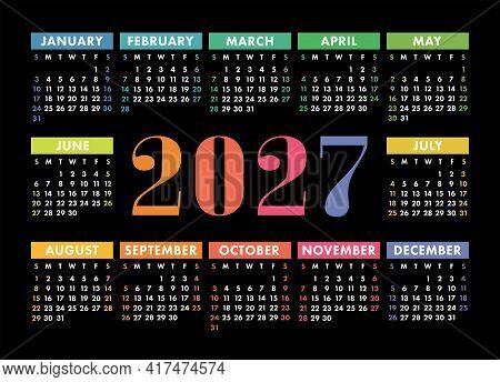 Calendar 2027. English Colorful Vector Horizontal Wall Or Pocket Calender Template. Design. New Year