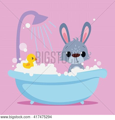 Cute Baby Rabbit Is Bathing In The Bathtub. Vector Print For Children. Cartoon Character Of Kids Ani
