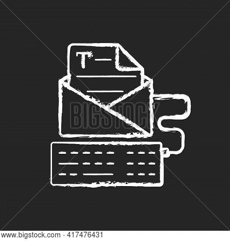 Newsletter Copywriting Chalk White Icon On Black Background. Copywriting Services. Typing With Keybo
