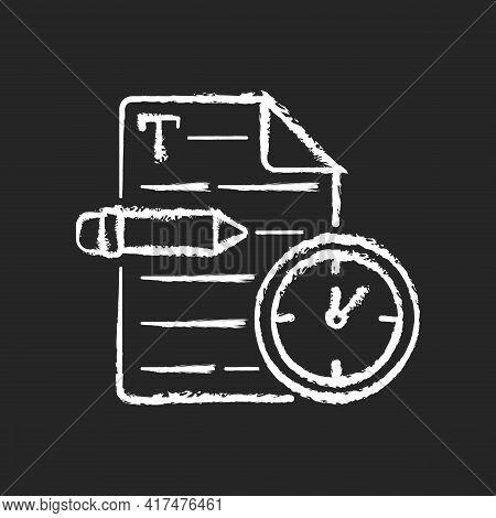 Urgent Copywriting Chalk White Icon On Black Background. Fast Copywriting Services. Time Management
