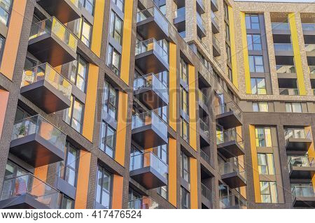 July 2020. London. Office Windows And Balcony Architecture In London England