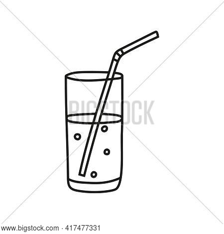 Vector Sketch Of Hand Drawn Glass Cup With Water With Straw And Fizzy Soda. Editable Stroke.