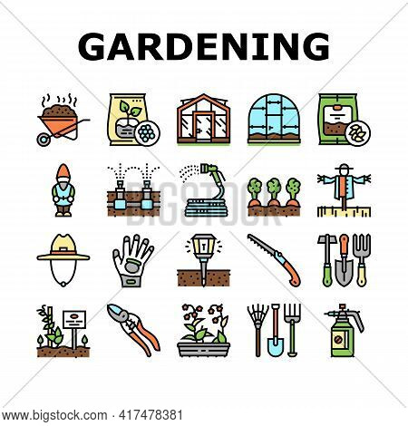 Gardening Equipment Collection Icons Set Vector. Glass And Polycarbonate Greenhouse Construction, Ga