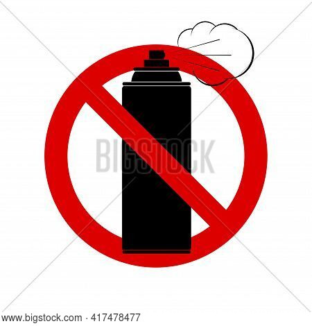 No Aerosol Spray. Prohibition Sign. Forbidden Round Sign. Vector Illustration Isolated On White.
