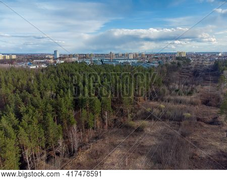 Overhead Power Lines Over The Forest Clearing In Early Spring, Overhead Aerial View