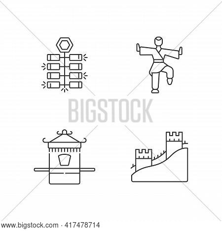 Traditional China Linear Icons Set. Chinese Firecrackers. Kung Fu. Sedan Chair. Great Chinese Wall.