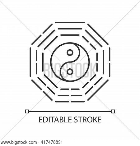 Bagua Linear Icon. Harmony Of Elements. Spirituality And Cosmology. Feng Shui. Yin Yang Amulet. Thin