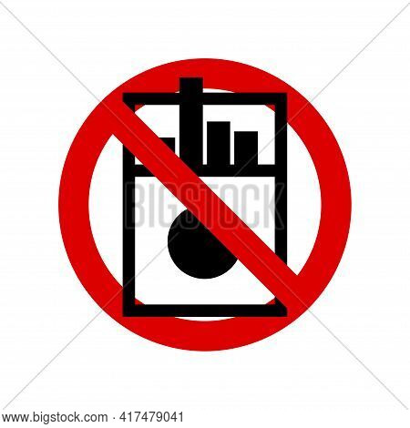 No Cigaretts, No Smoking Prohibition Sign. A Pack Of Cigarettes Icon. Forbidden Round Sign. Vector I