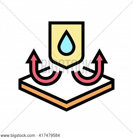 Waterproof Fabrics Properties Color Icon Vector. Waterproof Fabrics Properties Sign. Isolated Symbol