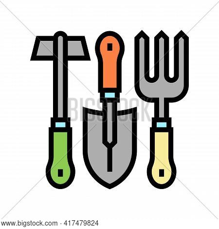 Instrument Set For Gardening Color Icon Vector. Instrument Set For Gardening Sign. Isolated Symbol I