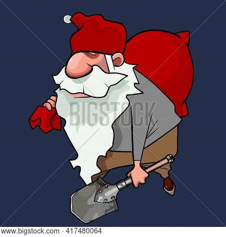 Cartoon Bearded Dwarf Man In Red Cap Wearily Walks With Bag And A Shovel