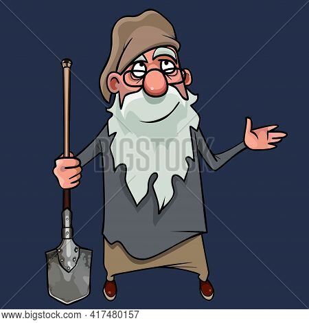 Cartoon Smiling Bearded Gnome Grandfather Looking Up With Shovel In His Hands