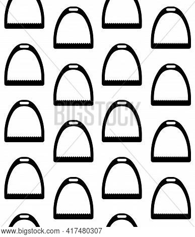 Vector Seamless Pattern Of Flat Horse Equestrian Saddle Stirrup Silhouette Isolated On White Backgro