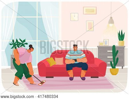 Young Woman Housewife Cleaning Floor With Mop, Smiling Man Sitting On Couch Serfing Internet