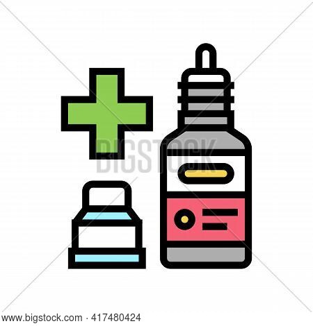 Nasal Or Eye Drops Homeopathy Color Icon Vector. Nasal Or Eye Drops Homeopathy Sign. Isolated Symbol
