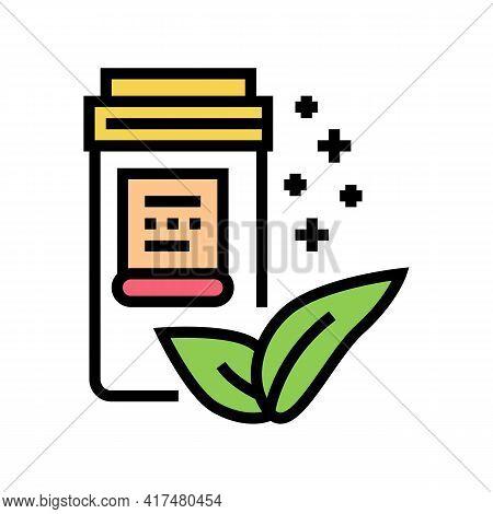 Natural Homeopathy Vitamin Or Medical Pills Packaging Color Icon Vector. Natural Homeopathy Vitamin