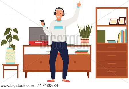 Old People Meloman. Modern Senior People Gadgets. Oldster Use Smartphone. Old Progressive Use Modern