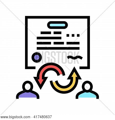 Power Of Attorney Law Dictionary Color Icon Vector. Power Of Attorney Law Dictionary Sign. Isolated