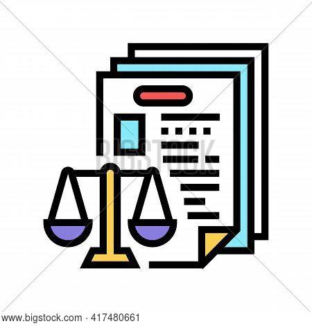 Bureaucracy Law Dictionary Color Icon Vector. Bureaucracy Law Dictionary Sign. Isolated Symbol Illus